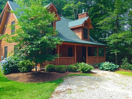 RELAXING CABIN IN THE WOODS, HEATED POOL & FIREPLACE